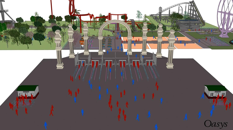 pedestrian simulation massmotion theme park
