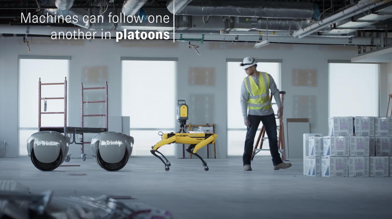Trimble Piaggio robots in construction