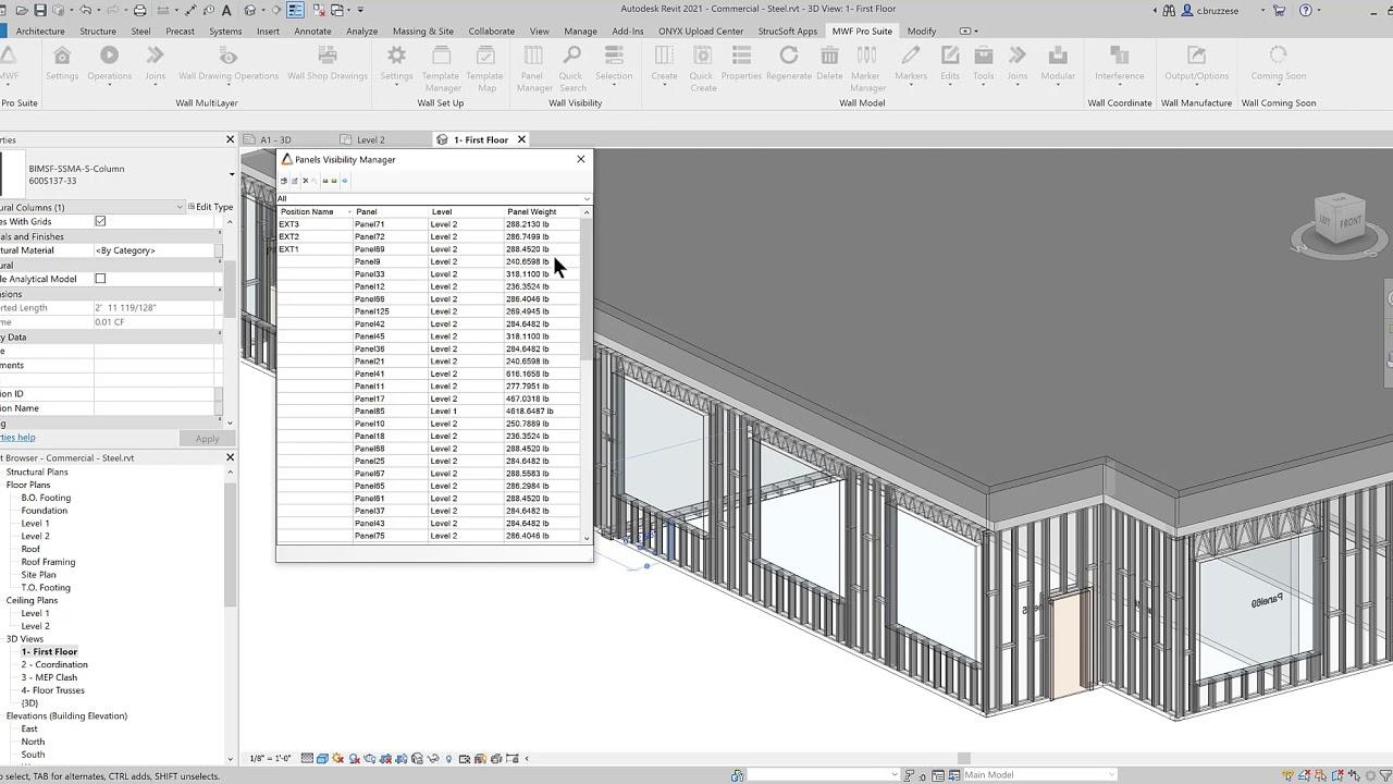 Strucsoft Metal Wood Framer inside Revit fabrication