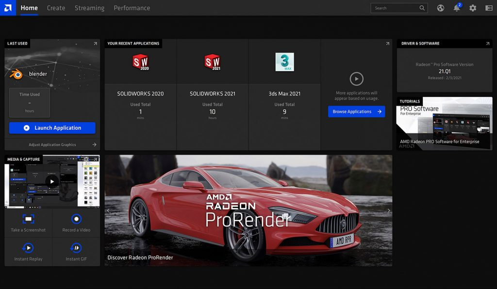 Radeon Pro driver home page