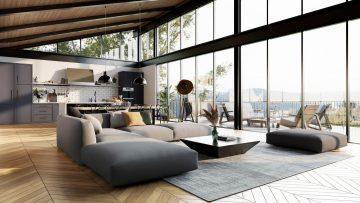 Living room modeled in Archicad 25 – rendered in Enscape 3.1